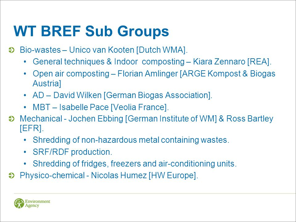 WT BREF Sub Groups Bio-wastes – Unico van Kooten [Dutch WMA].